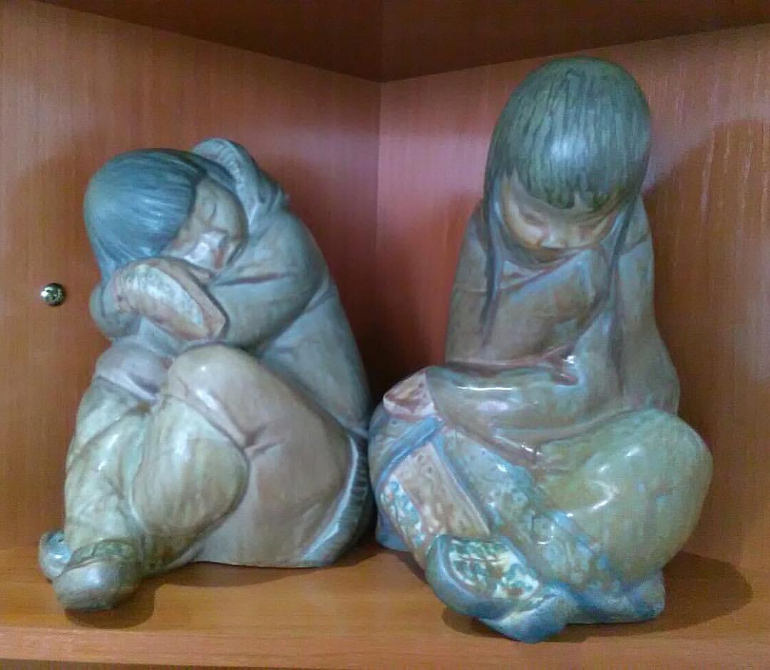 Niño y niña esquimales, porcelana lladró 1970-1990