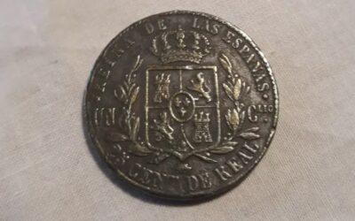 25 cent de Real.1864.Isabel II.