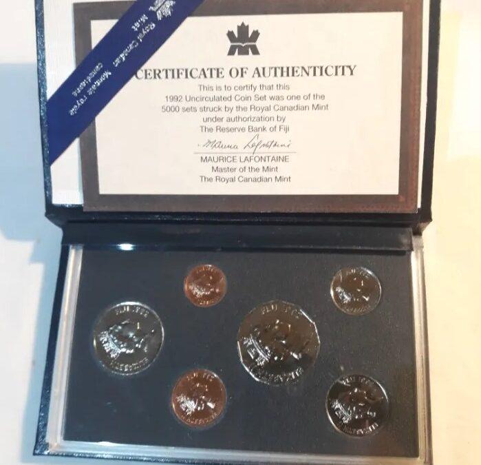 Monedas canadienses de la Royal Canadian Mint.1992.